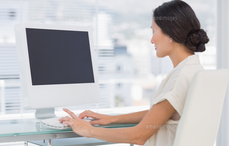Young businesswoman using computer in officeの素材 [FYI00000007]