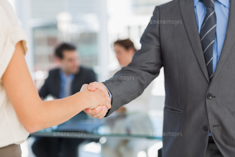 Mid section of handshake to seal a deal after meetingの素材 [FYI00000011]