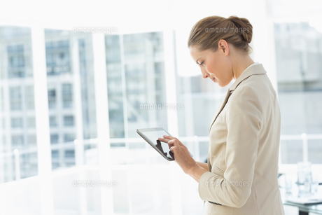 Beautiful businesswoman using digital tablet in officeの写真素材 [FYI00000071]