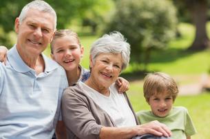 Smiling senior couple and grandchildren at parkの写真素材 [FYI00000145]