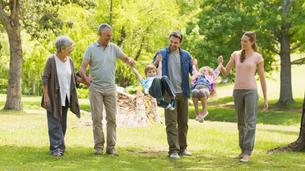 Full length of an extended family in parkの写真素材 [FYI00000152]