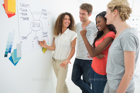 Happy designers discussing a flowchart on whiteboardの写真素材 [FYI00000291]