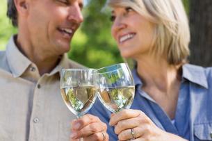 Romantic couple toasting wine glassesの写真素材 [FYI00000338]