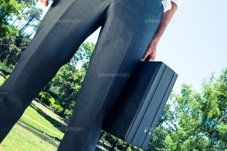 Businessman carrying briefcase at parkの写真素材 [FYI00000367]