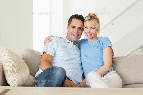 Portrait of a loving couple in the living roomの写真素材 [FYI00000449]