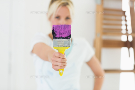 Blurred woman holding paint brush at new houseの写真素材 [FYI00000452]