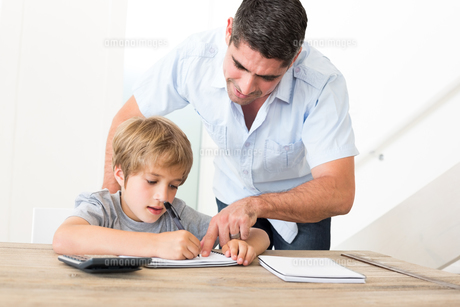 Father assisting son in homeworkの素材 [FYI00000587]