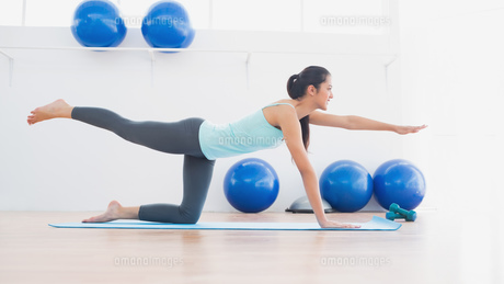 Sporty woman stretching hand and leg in fitness studioの写真素材 [FYI00000631]