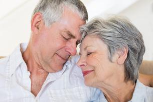 Loving senior couple with head to headの写真素材 [FYI00000636]