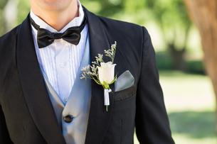 Bridegroom wearing boutonniere in gardenの写真素材 [FYI00000650]
