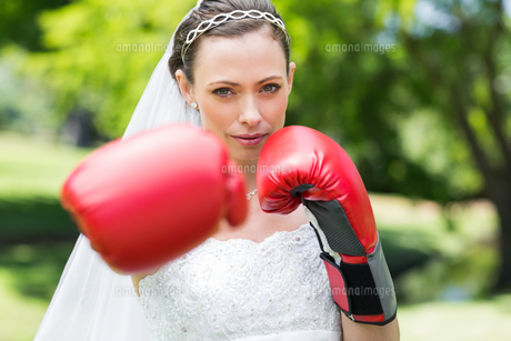 Bride with boxing gloves punching in parkの写真素材 [FYI00000732]