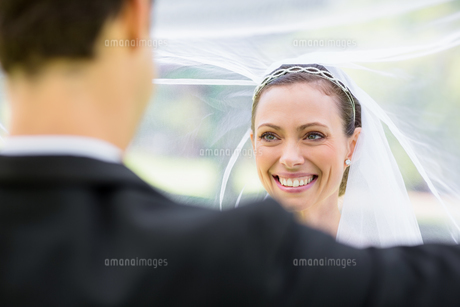 Groom lifting bridal veilの写真素材 [FYI00000742]