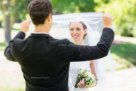 Loving groom lifting veil of brideの素材 [FYI00000743]