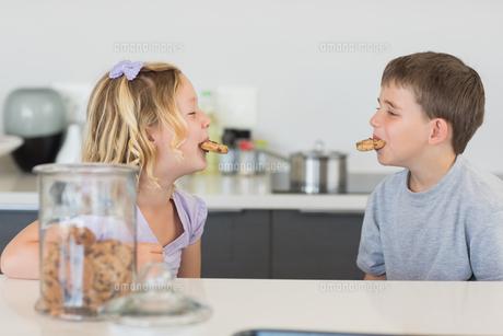 Siblings with cookies in mouth at kitchen counterの写真素材 [FYI00000757]