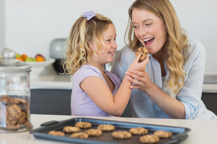Girl feeding cookie to mother at counterの写真素材 [FYI00000761]