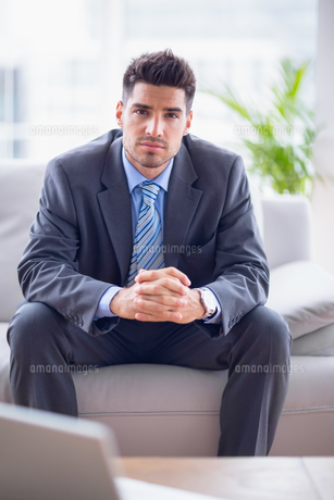 Smiling businessman sitting on the sofa looking at cameraの素材 [FYI00000890]