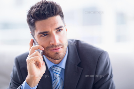 Handsome businessman sitting on sofa making a callの写真素材 [FYI00000905]