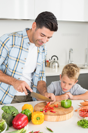 Handsome father teaching his son how to chop vegetablesの素材 [FYI00000998]