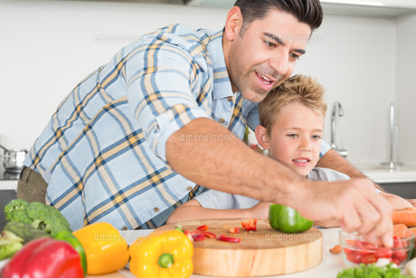 Handsome father showing his son how to prepare vegetablesの写真素材 [FYI00000999]