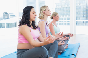 Relaxed pregnant women meditating in yoga classの写真素材 [FYI00001023]