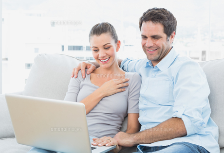 Cute couple sitting on the couch using laptop togetherの素材 [FYI00001047]