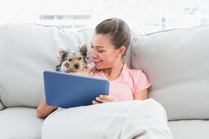 Cheerful woman using tablet with her yorkshire terrierの写真素材 [FYI00001082]