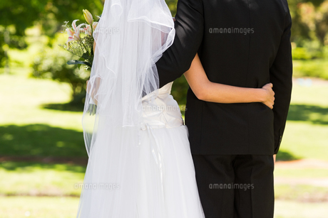 Mid section of a newlywed with arms around in parkの写真素材 [FYI00001098]