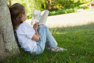 Rear view of girl reading book in parkの写真素材 [FYI00001249]