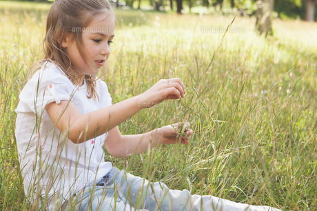 Relaxed young girl sitting in fieldの写真素材 [FYI00001253]