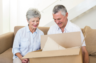 Smiling senior couple moving into new homeの写真素材 [FYI00001301]