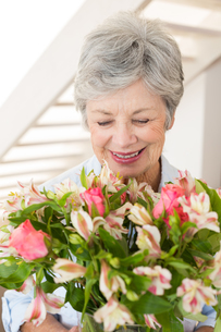 Retired woman holding bouquet of flowers and smilingの写真素材 [FYI00001312]