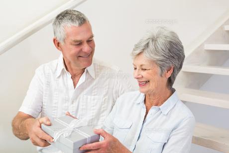 Senior man giving his happy partner a giftの写真素材 [FYI00001317]