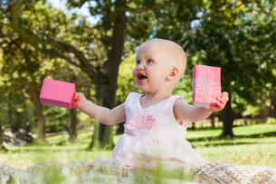 Cute baby with box at the parkの写真素材 [FYI00001378]