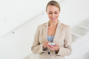 Smiling estate agent sending a text messageの写真素材 [FYI00001573]