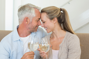 Happy couple sitting on couch toasting with white wineの素材 [FYI00001608]