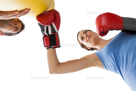 Determined female boxer focused on her trainingの写真素材 [FYI00001624]