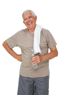Portrait of a senior man with water bottleの写真素材 [FYI00001671]