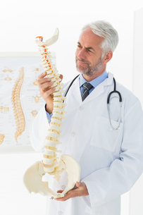 Mature male doctor holding skeleton model in his officeの素材 [FYI00001697]