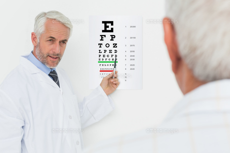 Pediatrician ophthalmologist with senior patient pointing at eye chartの写真素材 [FYI00001793]