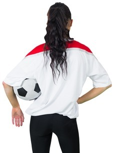 Football fan in white holding ballの写真素材 [FYI00001885]