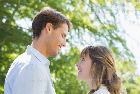Attractive couple smiling at each other in the parkの写真素材 [FYI00001961]