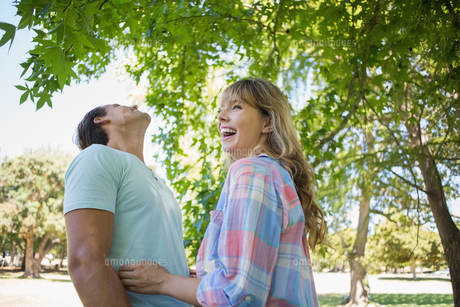 Cute couple laughing and hugging in the parkの写真素材 [FYI00001978]