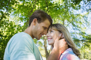 Cute smiling couple hugging in the parkの写真素材 [FYI00001981]