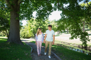 Cute affectionate couple walking hand in hand in the parkの写真素材 [FYI00001982]