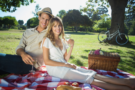 Cute couple drinking white wine on a picnic smiling at cameraの写真素材 [FYI00001999]