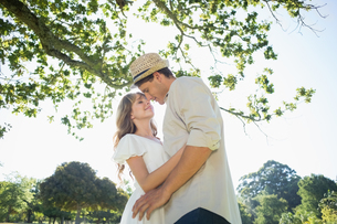 Cute couple standing in the park embracingの写真素材 [FYI00002007]