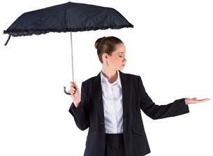 Businesswoman holding a black umbrellaの写真素材 [FYI00002019]
