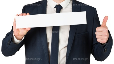 Businessman showing card and thumbs upの素材 [FYI00002118]