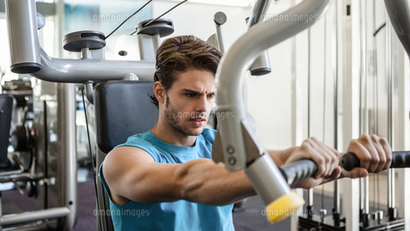 Focused man using weights machine for armsの写真素材 [FYI00002158]