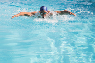 Fit swimmer doing the butterfly stroke in the swimming poolの写真素材 [FYI00002200]